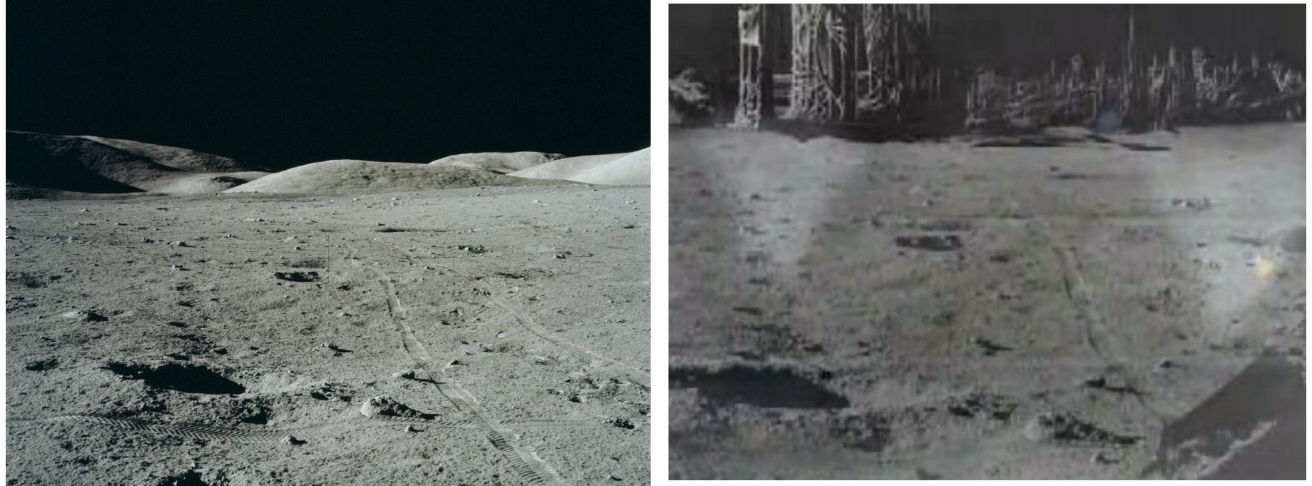 Comparison of genuine Apollo 17 photo and Apollo 20 fake