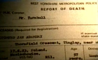 Mr Adamski's death certificate